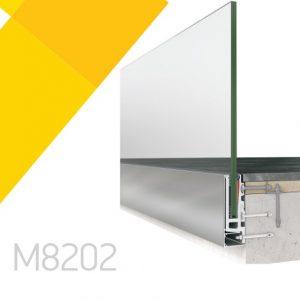 Σύστημα πλευρικής στήριξης υαλοπίνακα Alumil M8202