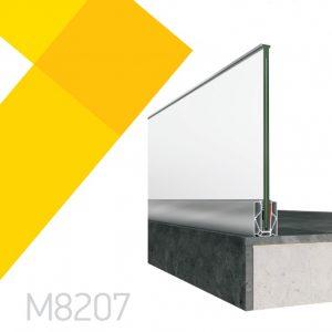 Επιδαπέδιο σύστημα στήριξης υαλοπίνακα Alumil M8207