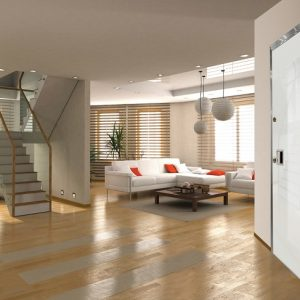 Γυάλινη πόρτα ασφαλείας Golden Door με επένδυση από γυαλί και κρυφό μεντεσέ
