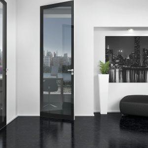 Εσωτερική πόρτα Interno Exlusive 100 με επένδυση γυαλιού , καπλάμα ή δέρματος