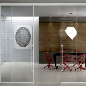 Πόρτα Interno Suite Partition με προφίλ αλουμινίου και υαλοπίνακα