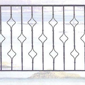 Παραδοσιακά κάγκελα σιδήρου Αλμέ σχέδιο 45 για μπαλκόνι